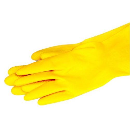 Guante de Latex tipo Domestico Afelpado, Brondo amarillo, par