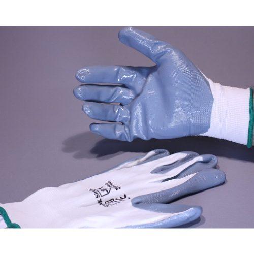 Guante de Nylon Blanco con Nitrilo Gris en palma y dedos, par