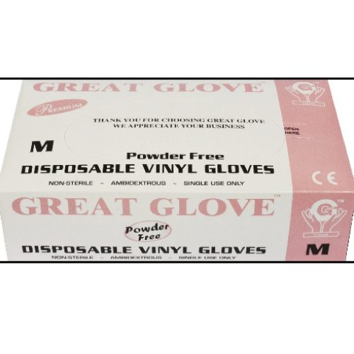 Guante de Vinyl Libre de Polvo, GG Premium, c/100 pzs