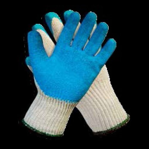 Guante con recubrimiento de látex azul, par